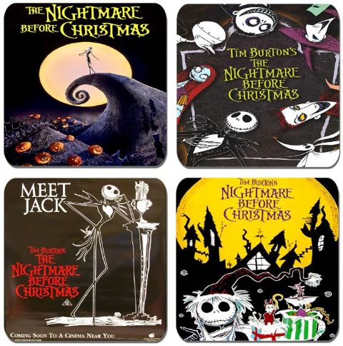 The Nightmare Before Christmas Coaster Set. High Quality Movie Poster Drinks Coasters